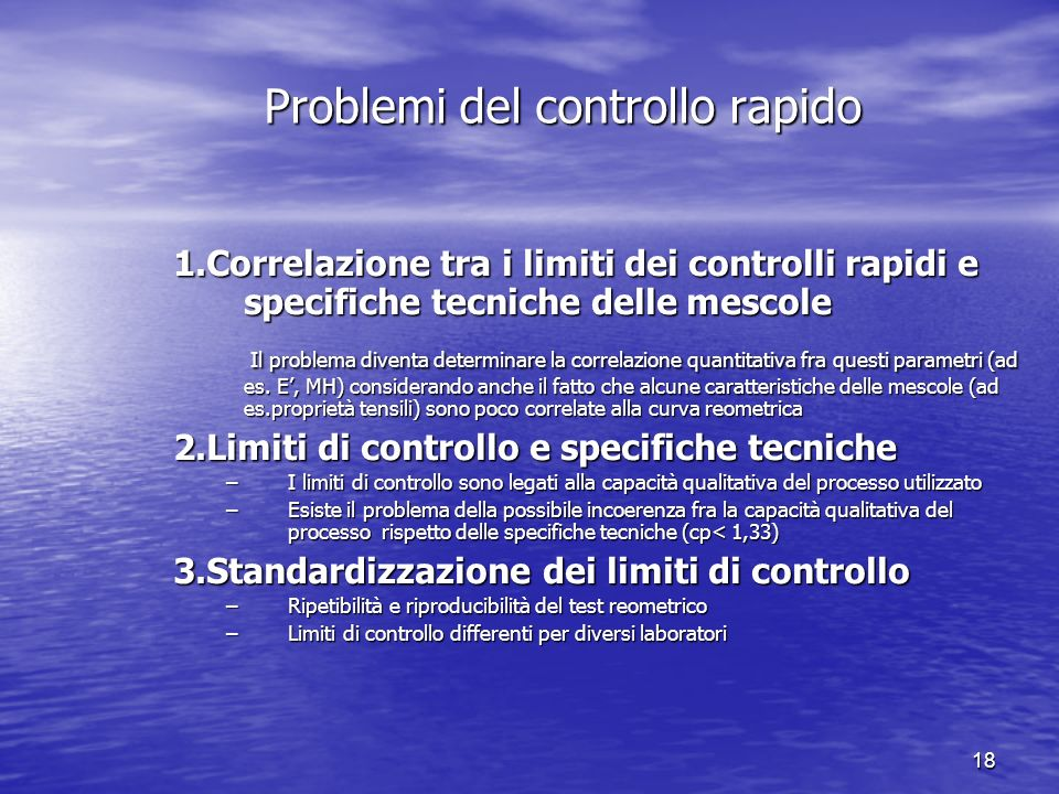 Problemi del controllo rapido