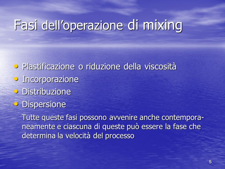 Fasi dell'operazione di mixing