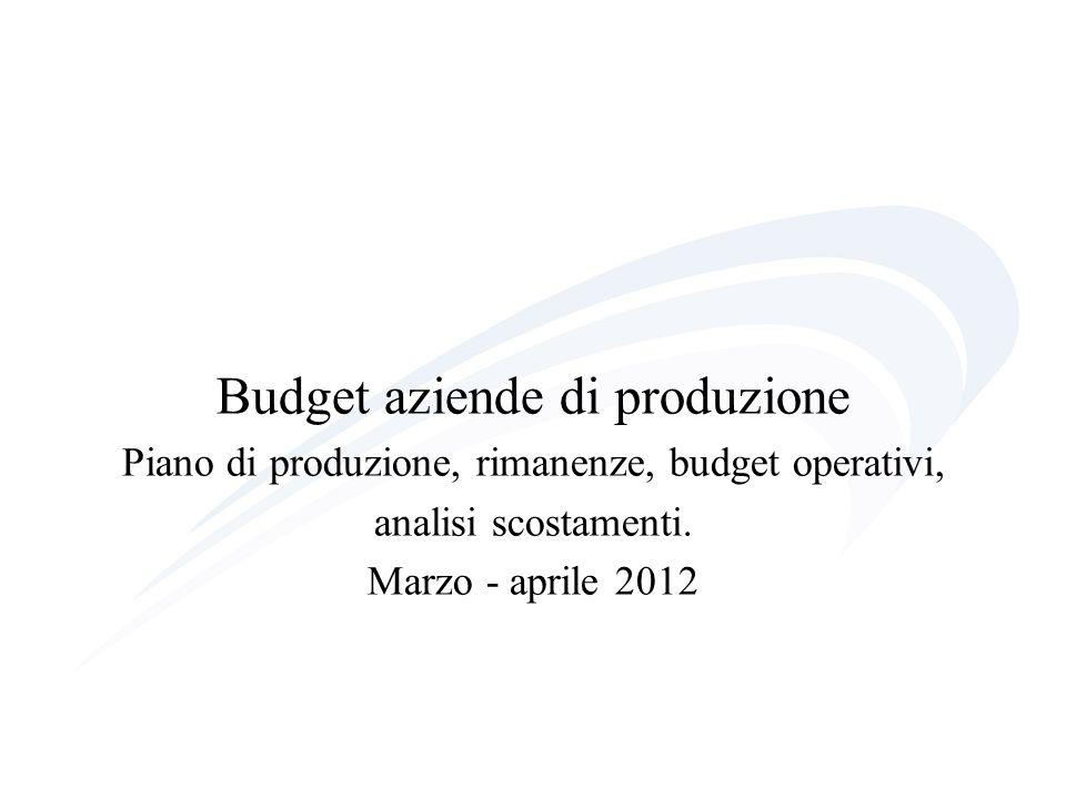 Budget aziende di produzione