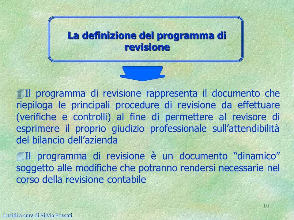 La definizione del programma di revisione