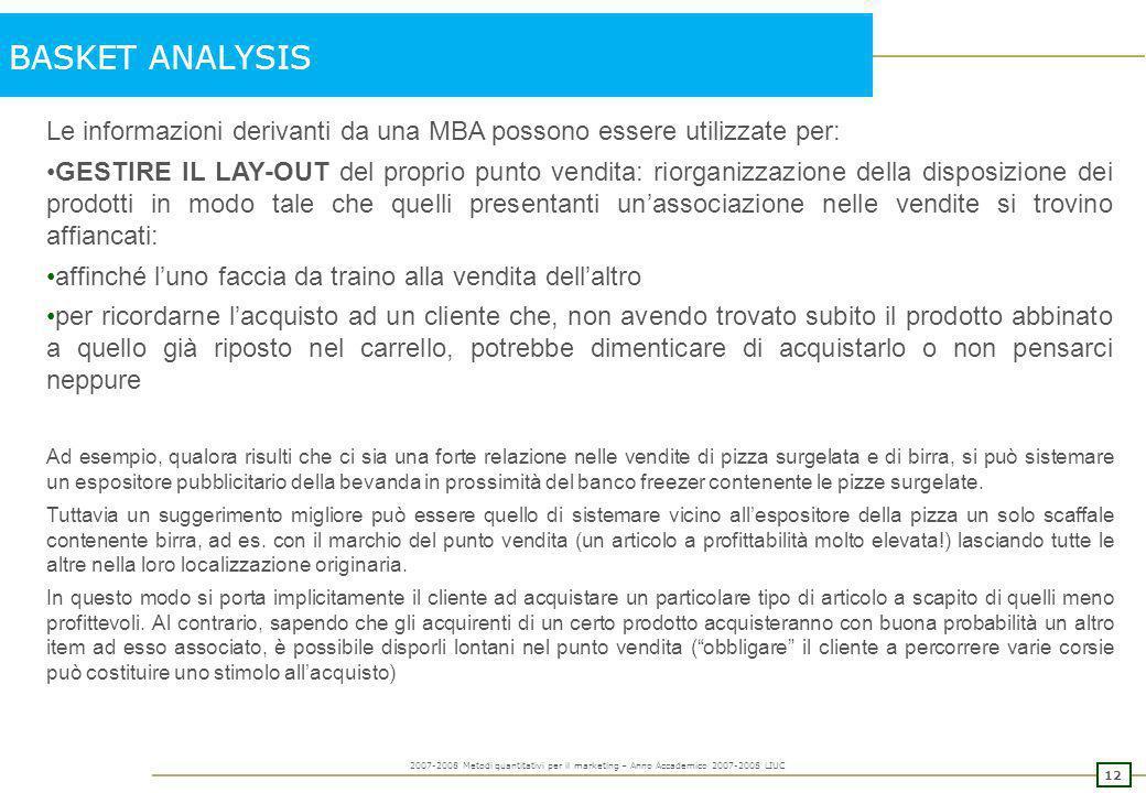 BASKET ANALYSIS Le informazioni derivanti da una MBA possono essere utilizzate per: