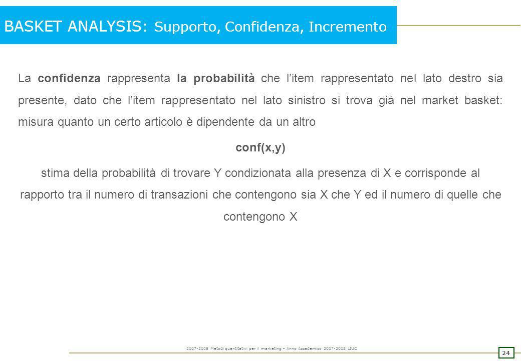BASKET ANALYSIS: Supporto, Confidenza, Incremento