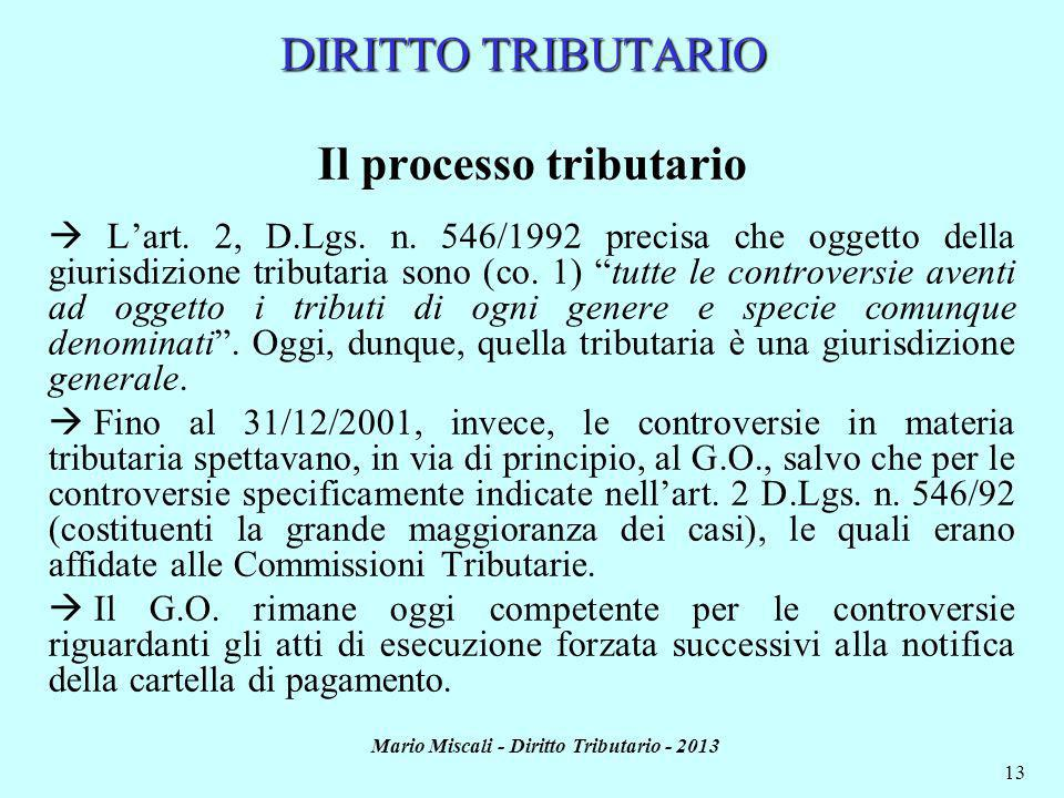 Il processo tributario Mario Miscali - Diritto Tributario - 2013