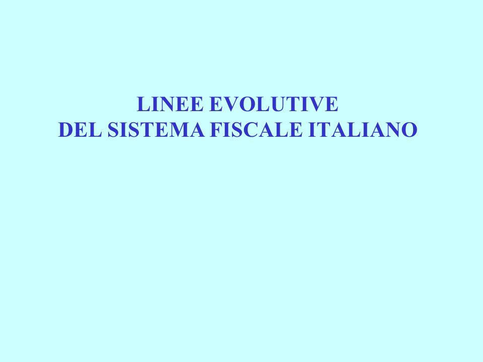 LINEE EVOLUTIVE DEL SISTEMA FISCALE ITALIANO