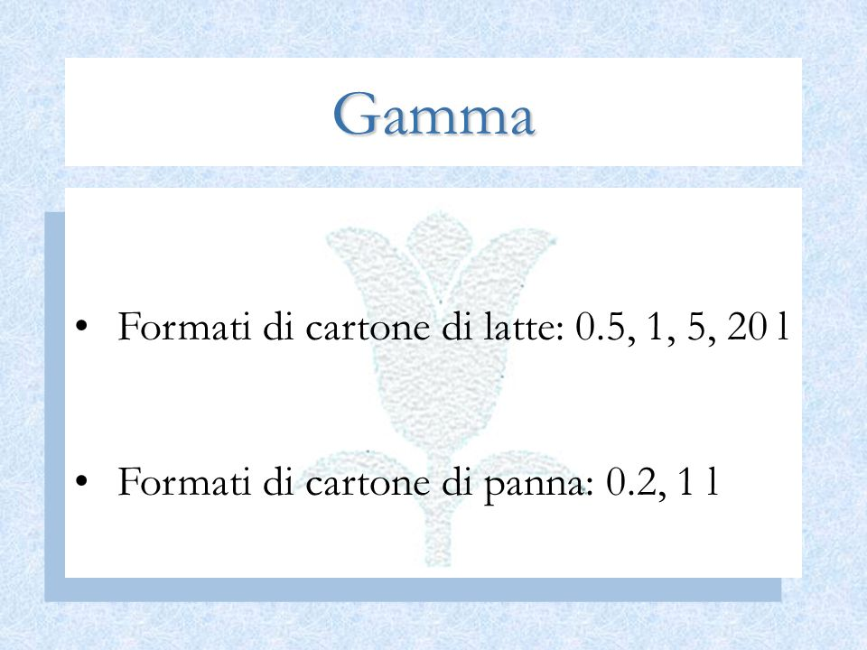 Gamma Formati di cartone di latte: 0.5, 1, 5, 20 l