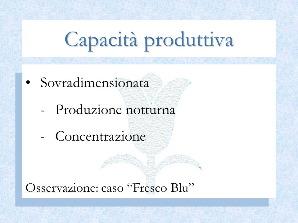 Capacità produttiva Sovradimensionata Produzione notturna