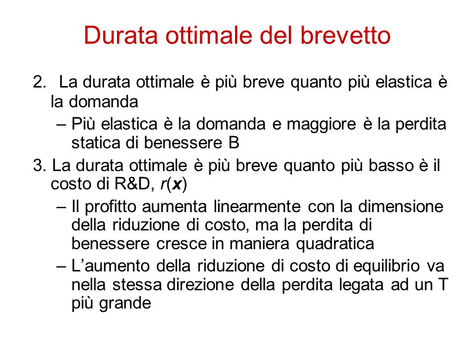 Durata ottimale del brevetto