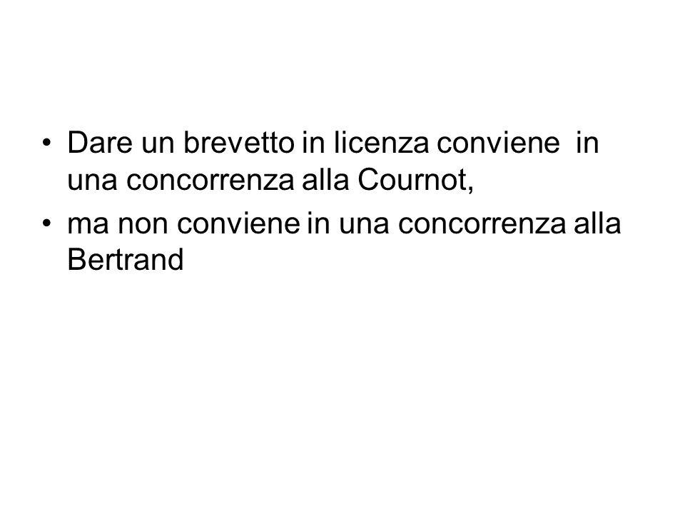 Dare un brevetto in licenza conviene in una concorrenza alla Cournot,