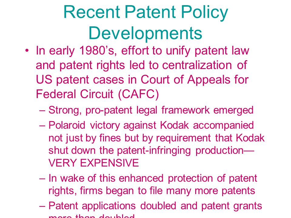 Recent Patent Policy Developments
