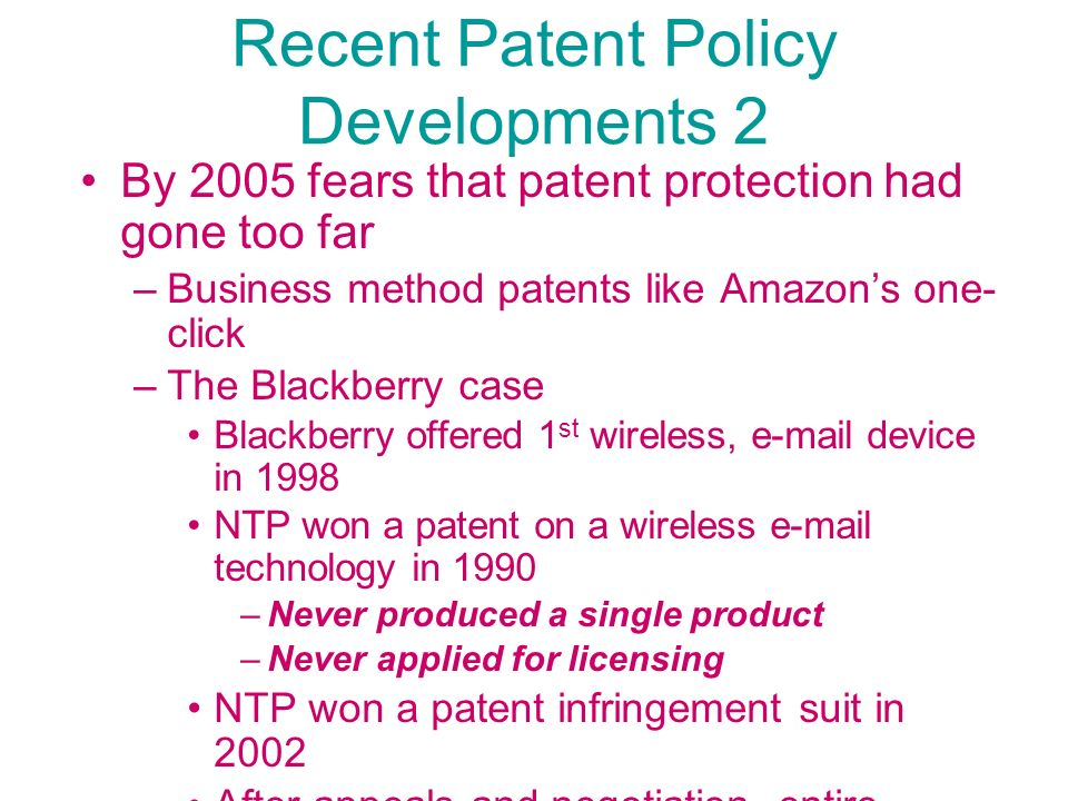Recent Patent Policy Developments 2