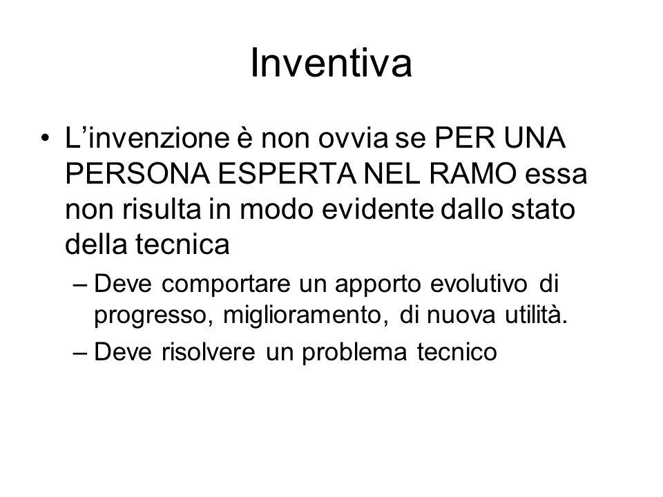 Inventiva L'invenzione è non ovvia se PER UNA PERSONA ESPERTA NEL RAMO essa non risulta in modo evidente dallo stato della tecnica.