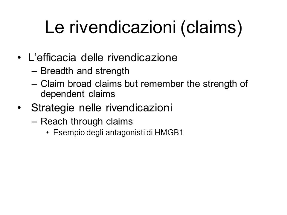 Le rivendicazioni (claims)