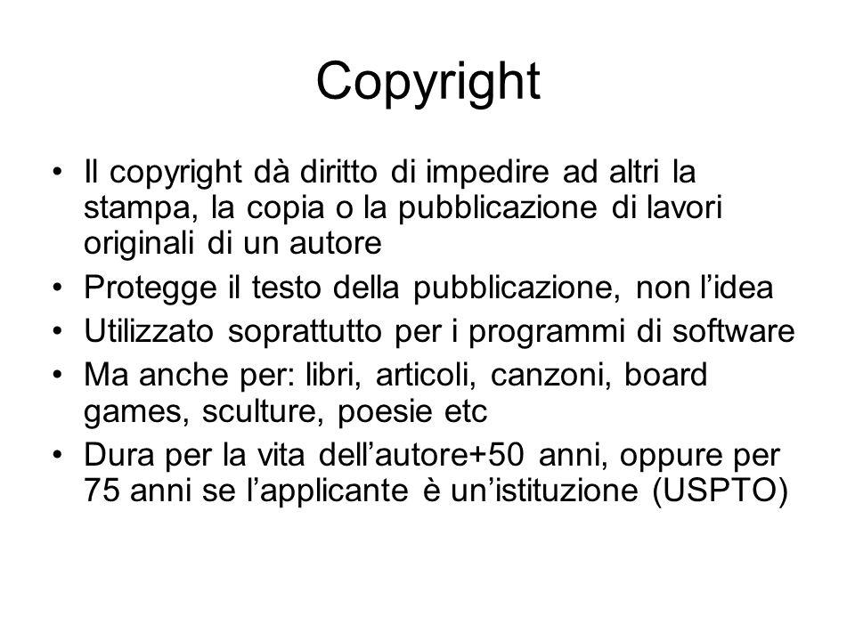 Copyright Il copyright dà diritto di impedire ad altri la stampa, la copia o la pubblicazione di lavori originali di un autore.
