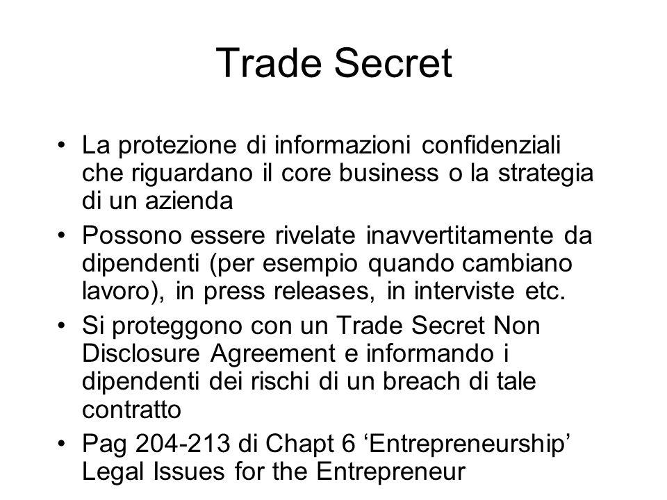 Trade Secret La protezione di informazioni confidenziali che riguardano il core business o la strategia di un azienda.