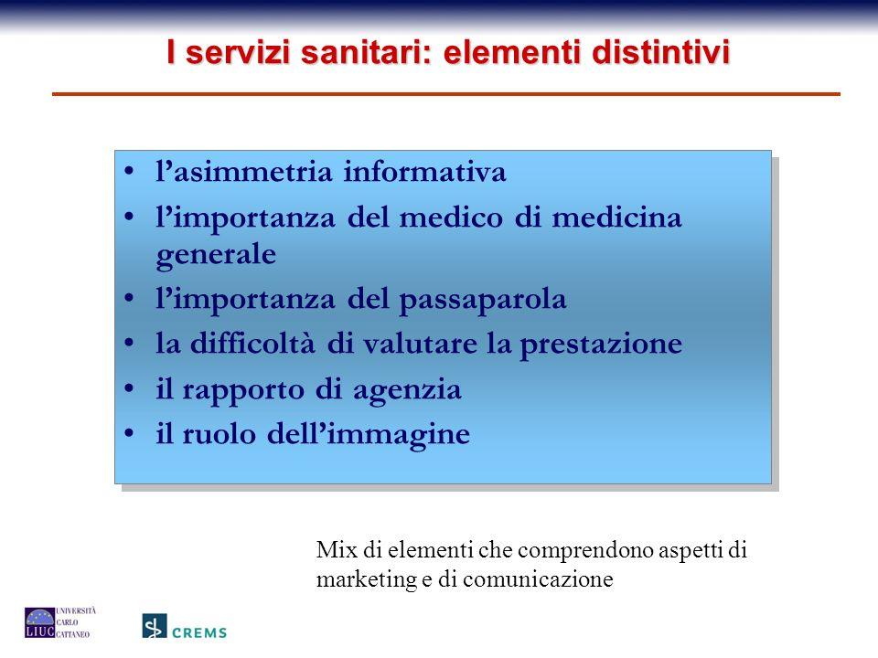 I servizi sanitari: elementi distintivi