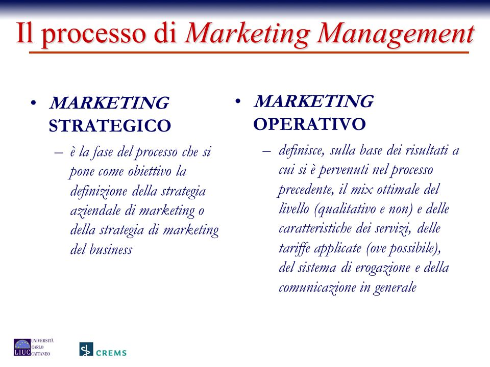 Il processo di Marketing Management