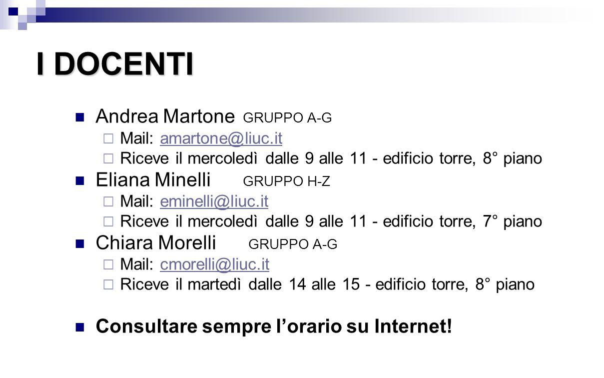 I DOCENTI Andrea Martone GRUPPO A-G Eliana Minelli GRUPPO H-Z