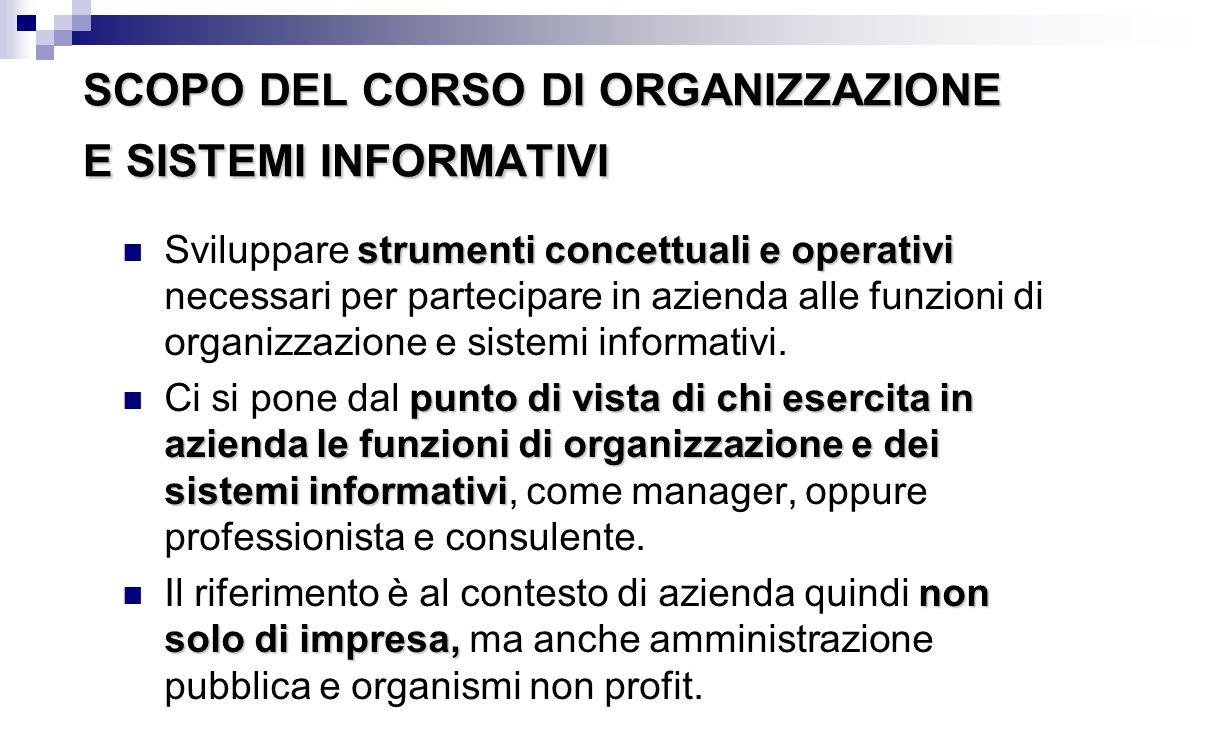 SCOPO DEL CORSO DI ORGANIZZAZIONE E SISTEMI INFORMATIVI