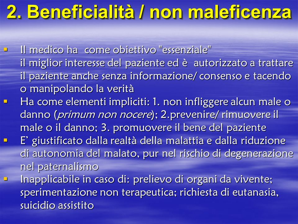 2. Beneficialità / non maleficenza