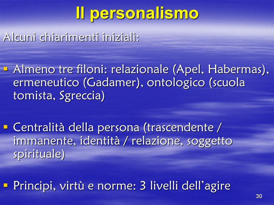 Il personalismo Alcuni chiarimenti iniziali: