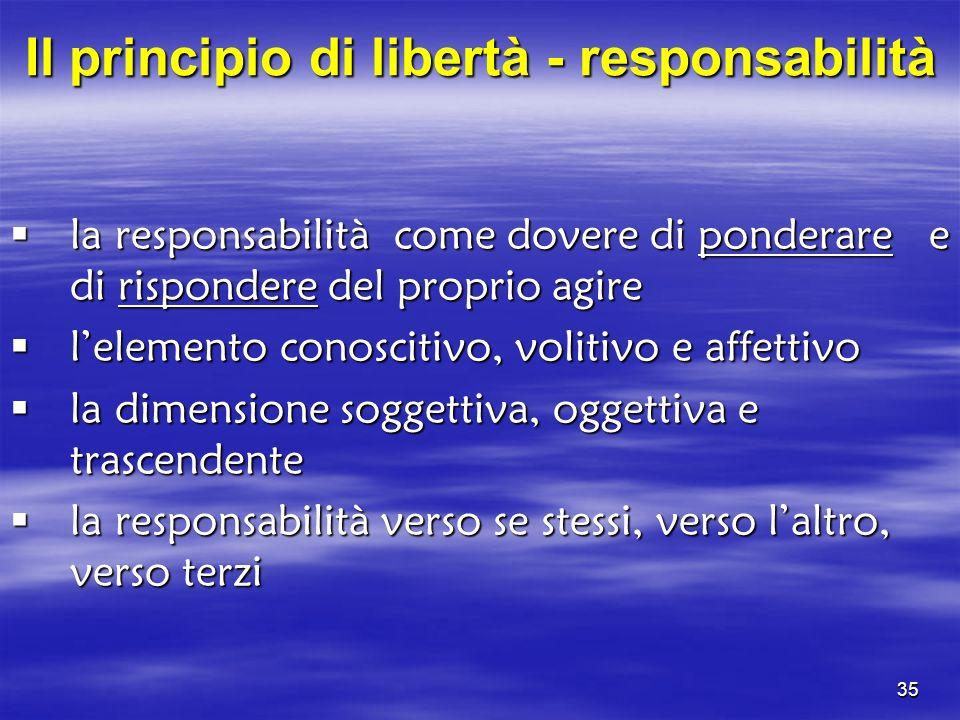 Il principio di libertà - responsabilità