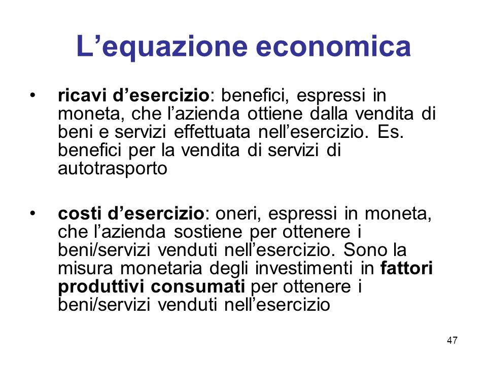 L'equazione economica