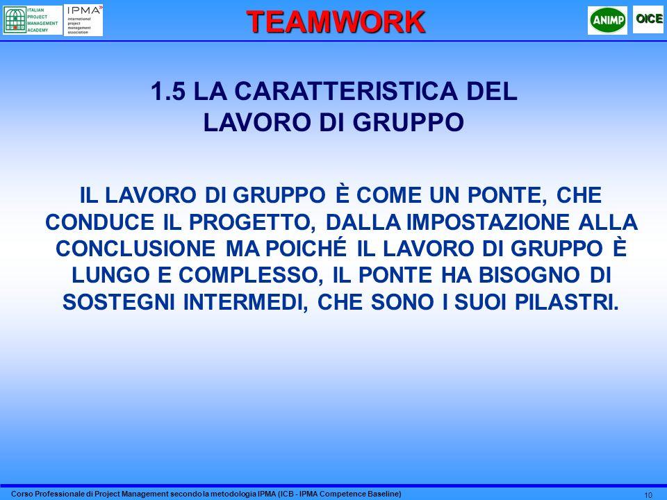 TEAMWORK 1.5 LA CARATTERISTICA DEL LAVORO DI GRUPPO