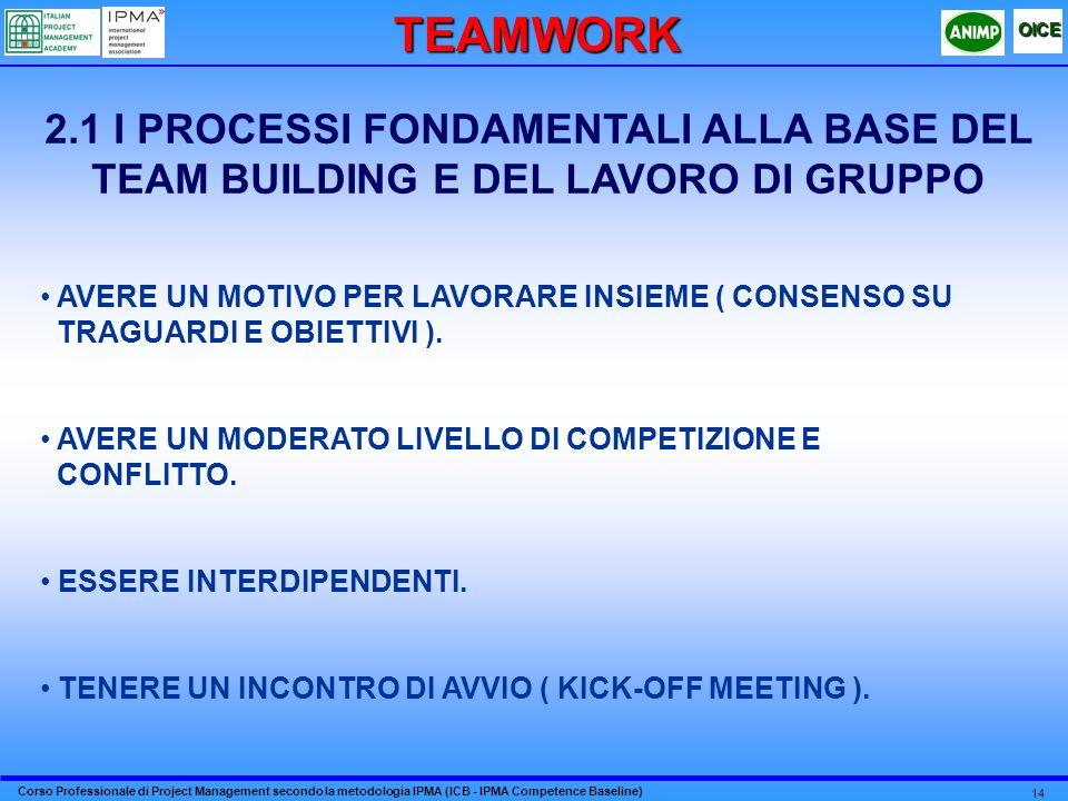 TEAMWORK 2.1 I PROCESSI FONDAMENTALI ALLA BASE DEL TEAM BUILDING E DEL LAVORO DI GRUPPO. AVERE UN MOTIVO PER LAVORARE INSIEME ( CONSENSO SU.