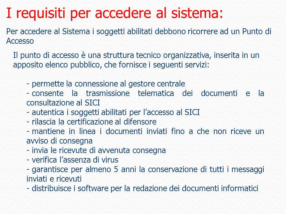 I requisiti per accedere al sistema: Per accedere al Sistema i soggetti abilitati debbono ricorrere ad un Punto di Accesso