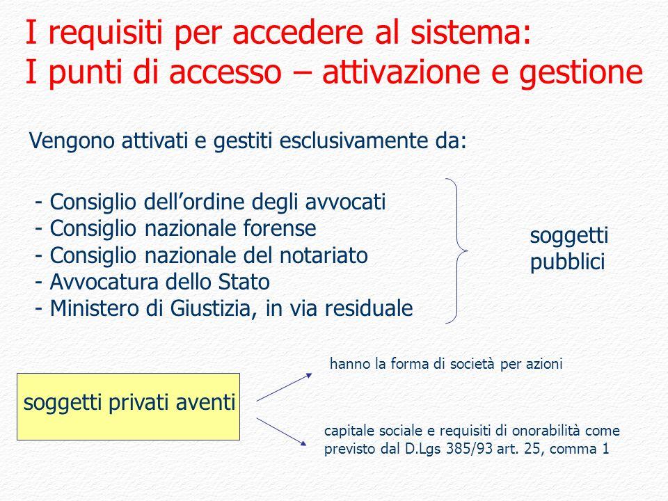 I requisiti per accedere al sistema: I punti di accesso – attivazione e gestione