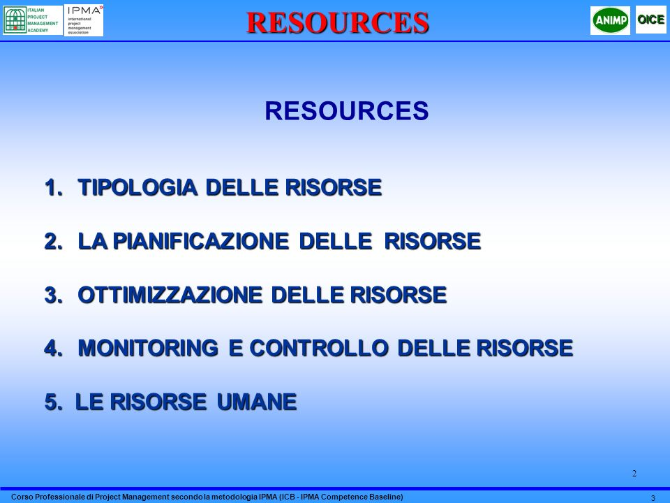 RESOURCES RESOURCES TIPOLOGIA DELLE RISORSE