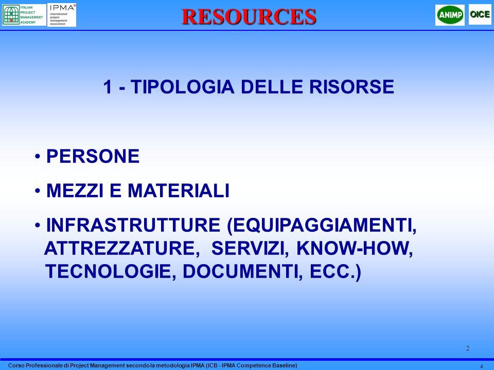 1 - TIPOLOGIA DELLE RISORSE