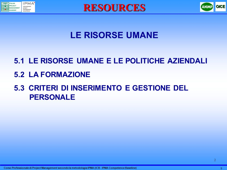 RESOURCES LE RISORSE UMANE