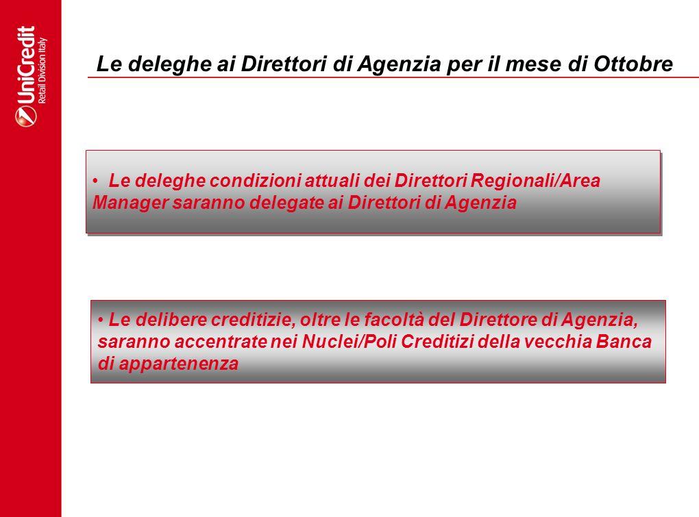Le deleghe ai Direttori di Agenzia per il mese di Ottobre