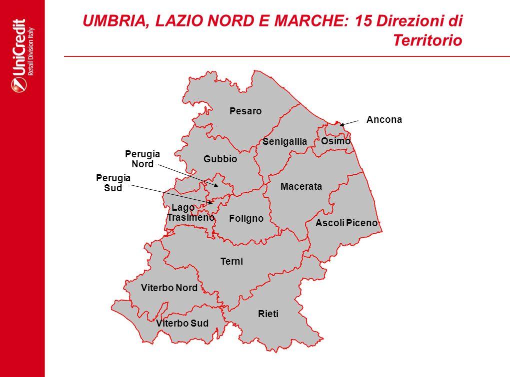UMBRIA, LAZIO NORD E MARCHE: 15 Direzioni di Territorio