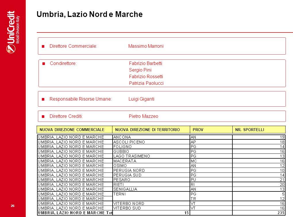Umbria, Lazio Nord e Marche