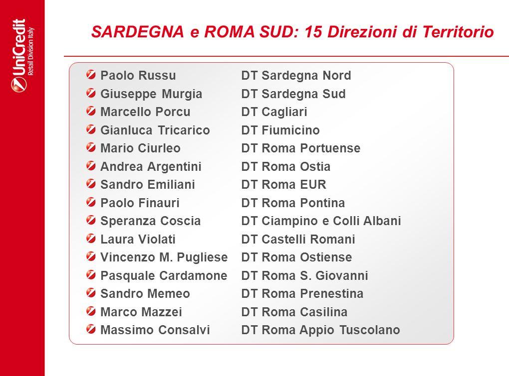 SARDEGNA e ROMA SUD: 15 Direzioni di Territorio