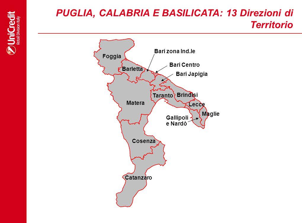 PUGLIA, CALABRIA E BASILICATA: 13 Direzioni di Territorio