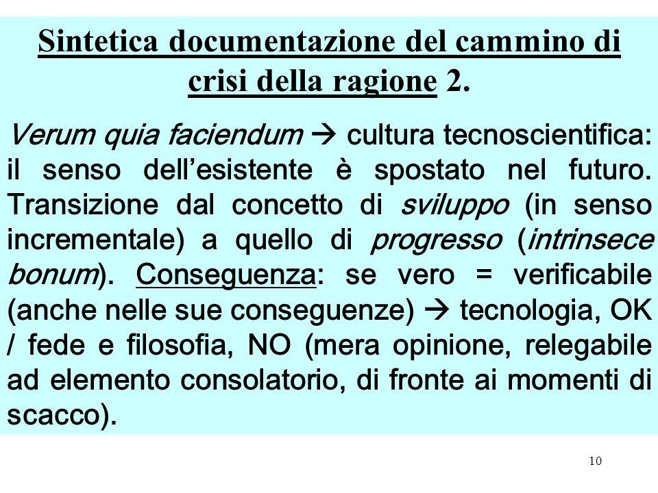 Sintetica documentazione del cammino di crisi della ragione 2.