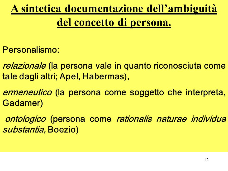 A sintetica documentazione dell'ambiguità del concetto di persona.