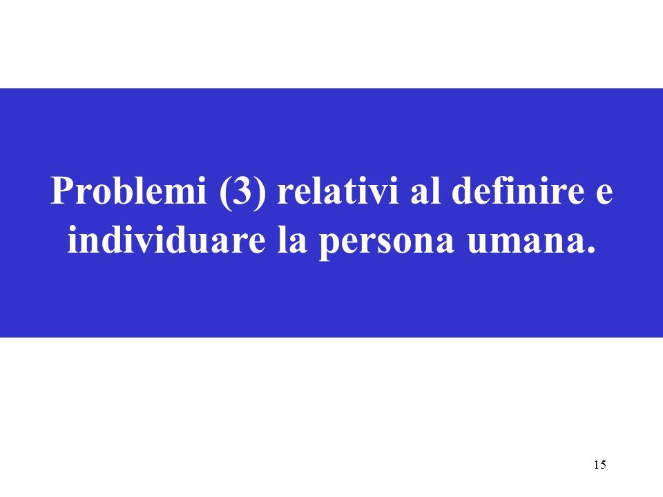 Problemi (3) relativi al definire e individuare la persona umana.