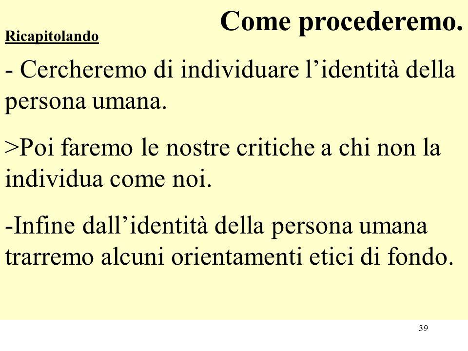 Come procederemo. - Cercheremo di individuare l'identità della persona umana. >Poi faremo le nostre critiche a chi non la individua come noi.