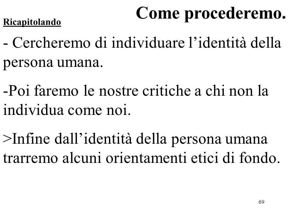 Come procederemo. - Cercheremo di individuare l'identità della persona umana. Poi faremo le nostre critiche a chi non la individua come noi.