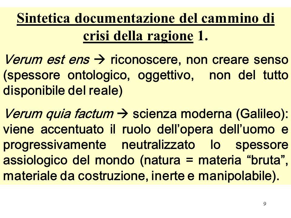 Sintetica documentazione del cammino di crisi della ragione 1.