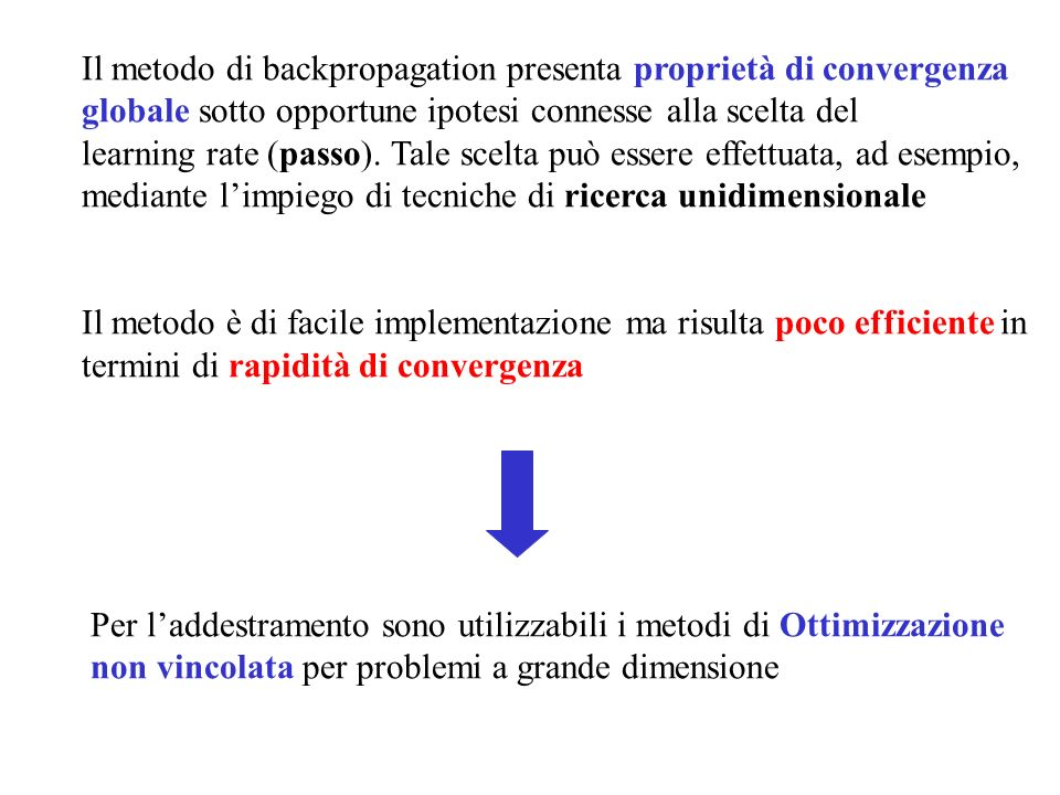 Il metodo di backpropagation presenta proprietà di convergenza