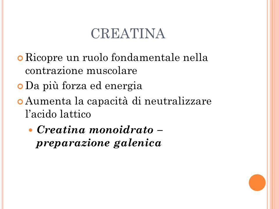 creatina Ricopre un ruolo fondamentale nella contrazione muscolare