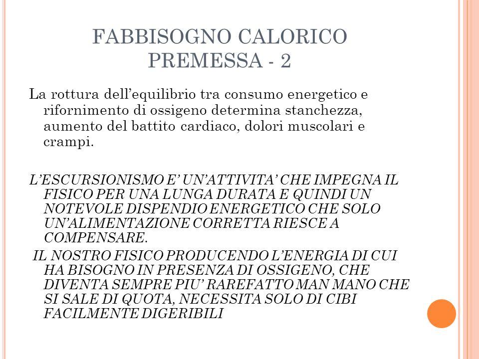 FABBISOGNO CALORICO PREMESSA - 2