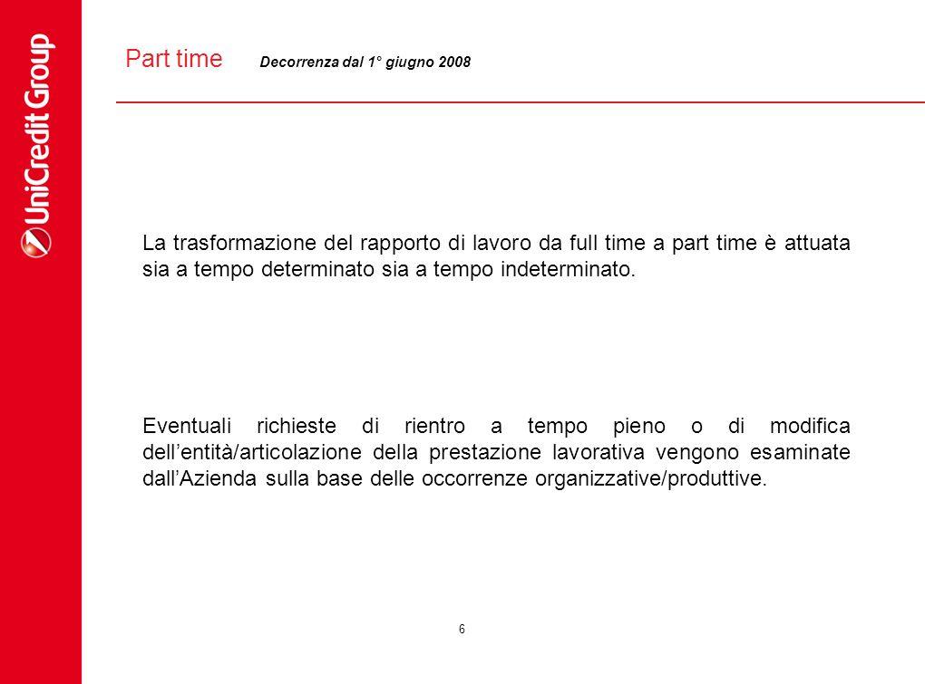 Part time Decorrenza dal 1° giugno 2008.