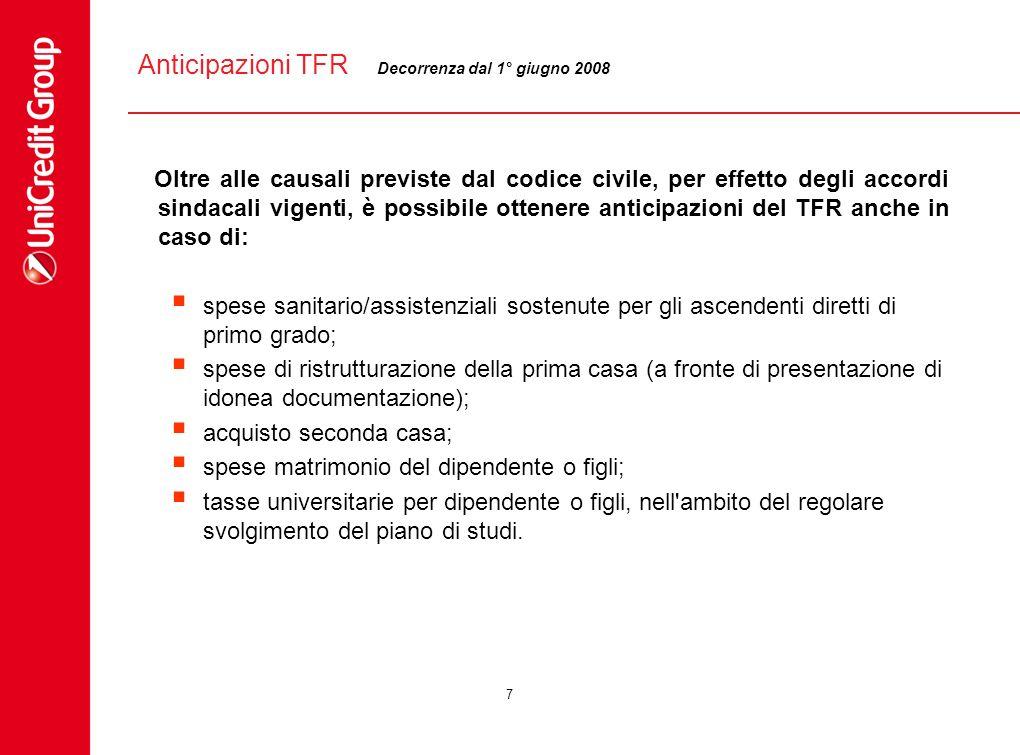 Anticipazioni TFR Decorrenza dal 1° giugno 2008.
