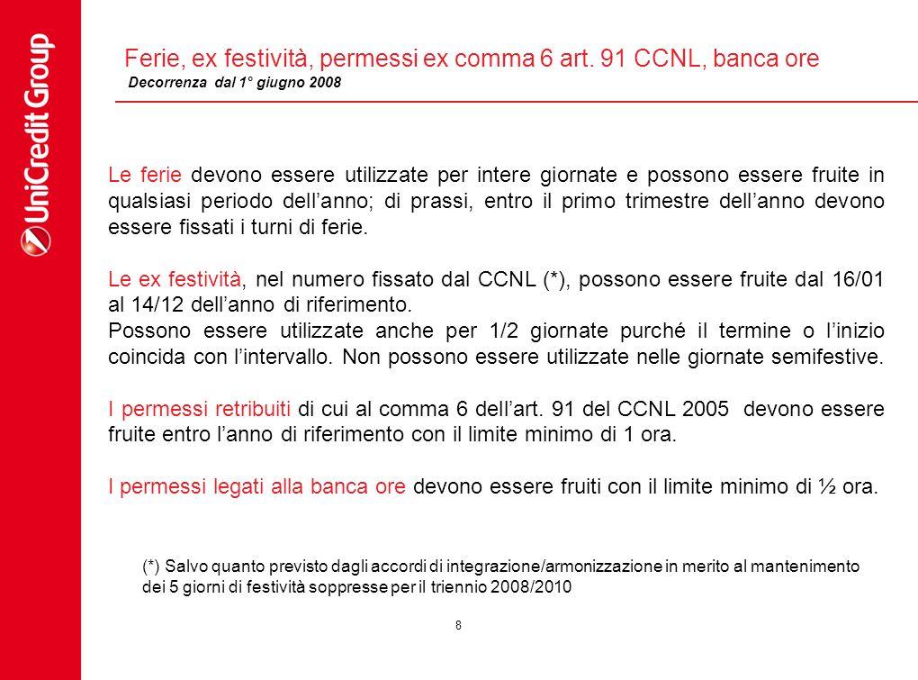 Ferie, ex festività, permessi ex comma 6 art. 91 CCNL, banca ore